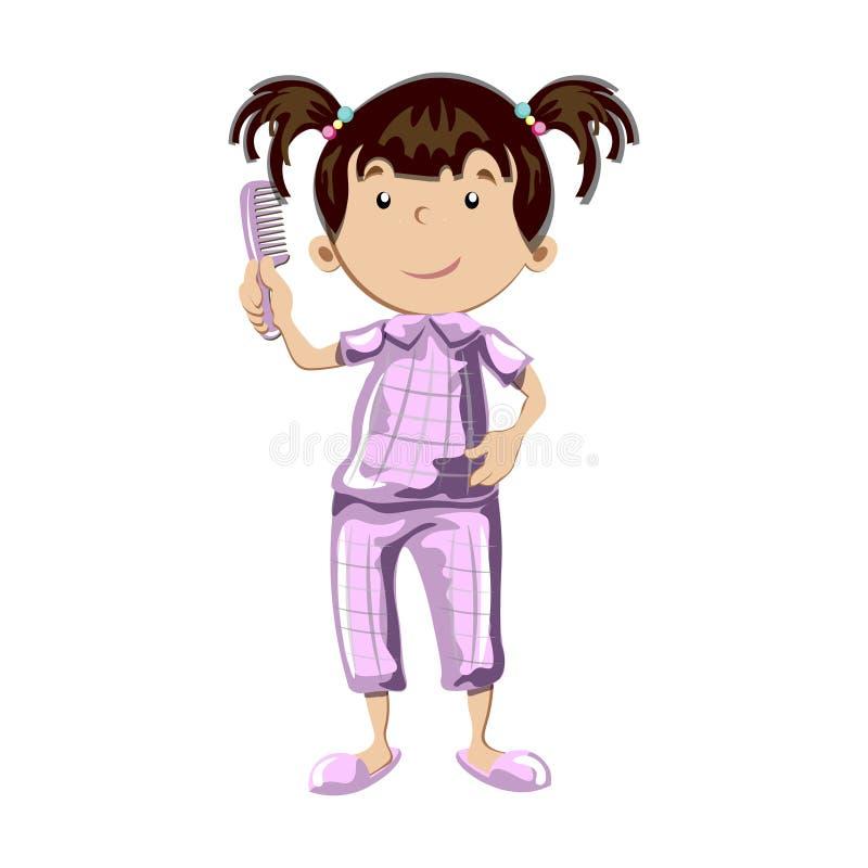 Menina que penteia seu cabelo ilustração do vetor