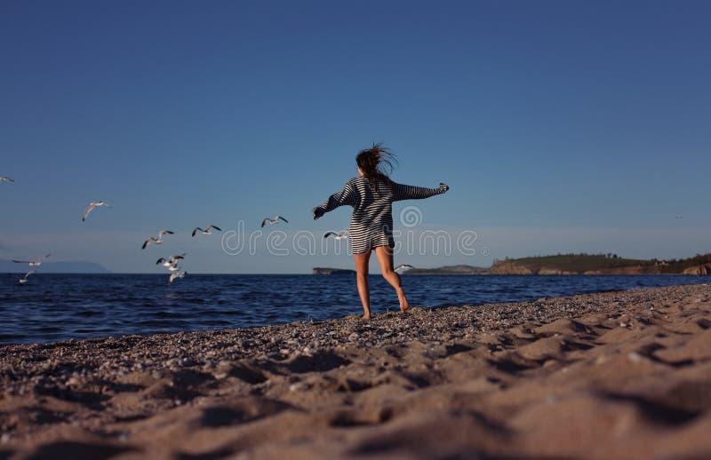 Menina que persegue gaivotas na praia fotografia de stock