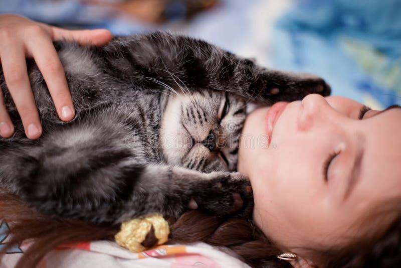 Menina que prende o gato cinzento fotografia de stock royalty free