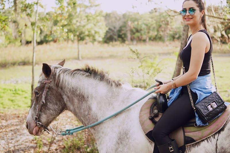 Menina que prepara-se para montar um cavalo imagem de stock royalty free