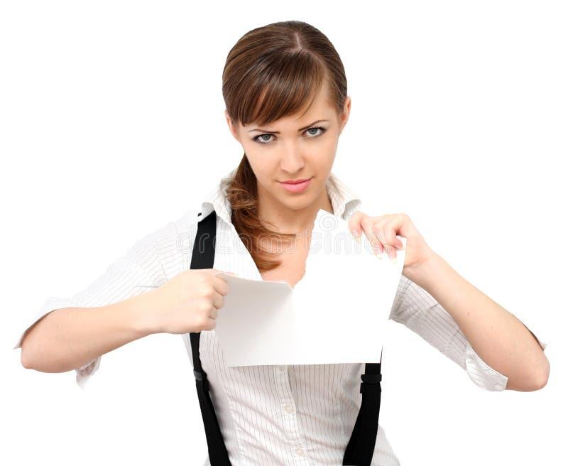 Menina que rasga o papel foto de stock