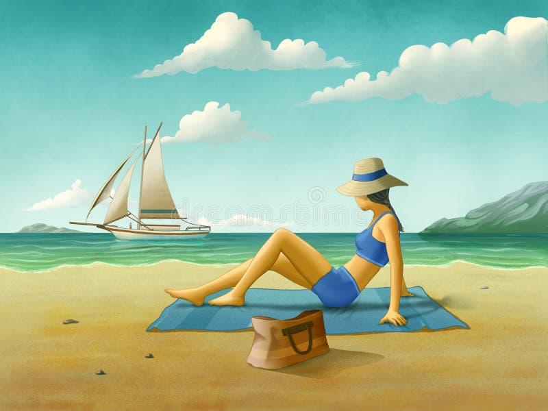 Menina que relaxa na praia ilustração royalty free