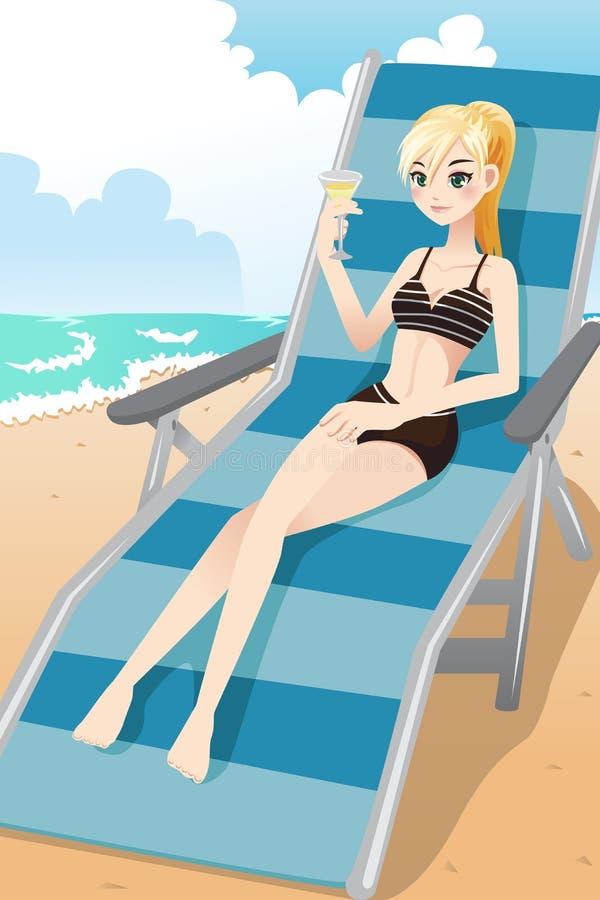 Menina que relaxa na praia ilustração stock