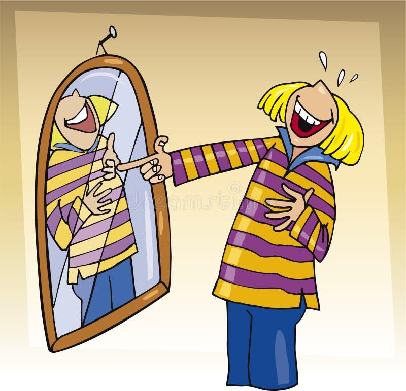 Menina que ri ao espelho ilustração stock