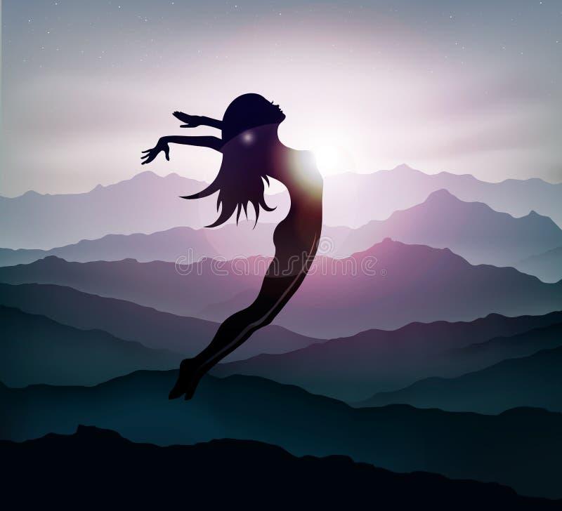 A menina que salta nas montanhas na liberdade do por do sol ilustração do vetor