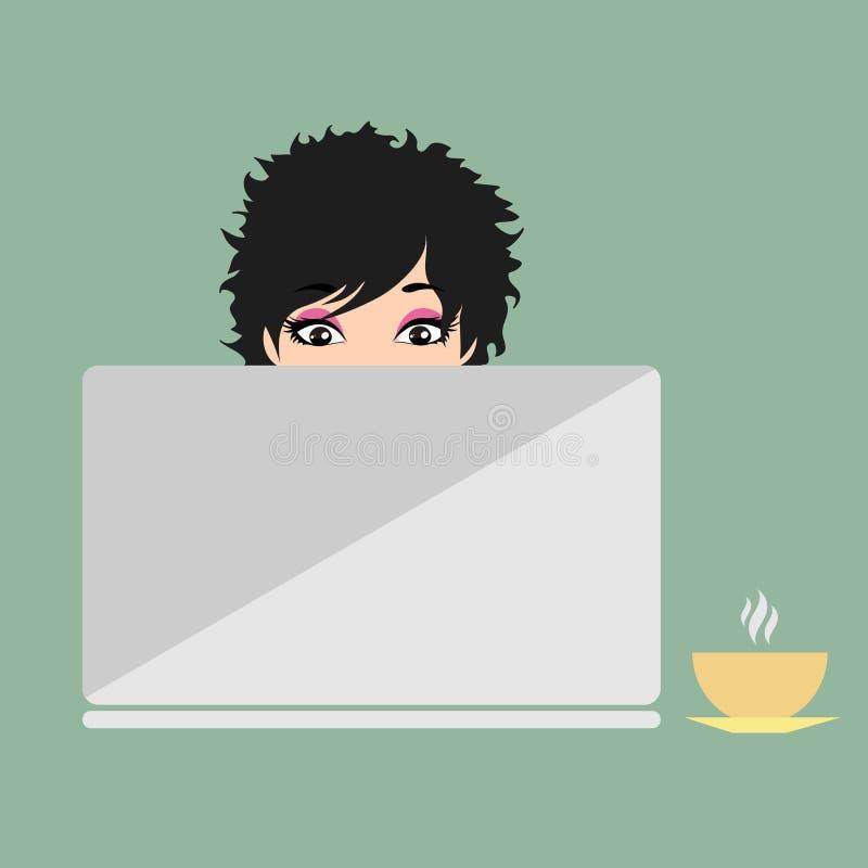 Menina que senta-se antes do portátil ilustração do vetor
