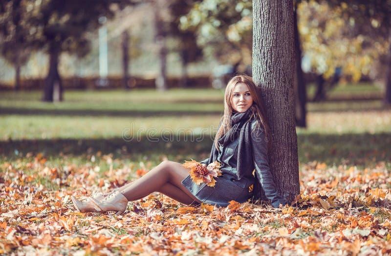 Menina que senta-se com o ramalhete do outono no parque foto de stock