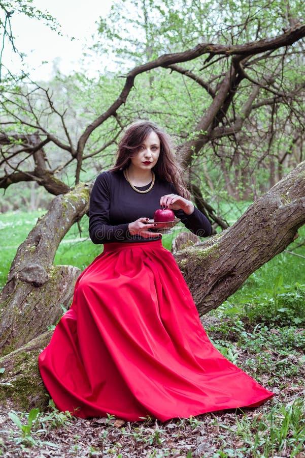 Menina que senta-se em um tronco de árvore fotos de stock