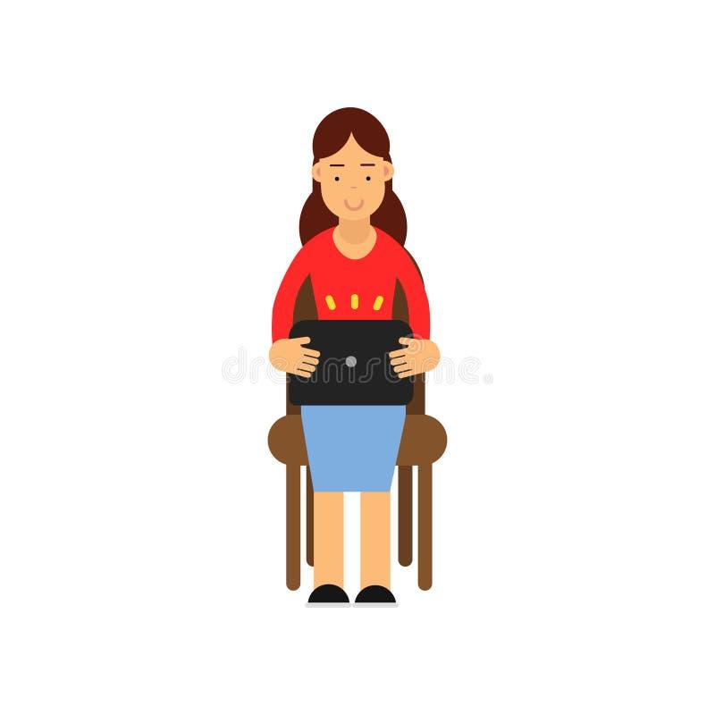 Menina que senta-se em uma cadeira que trabalha com portátil, estudante fêmea do adolescente que usa a ilustração do vetor do dis ilustração do vetor