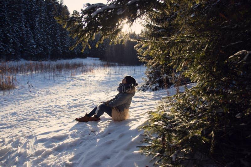 Menina que senta-se na neve na floresta do inverno fotos de stock