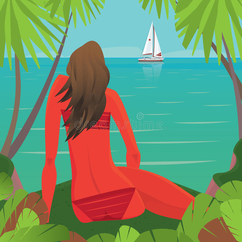 Menina que senta-se na praia e que olha o barco afastado ilustração royalty free