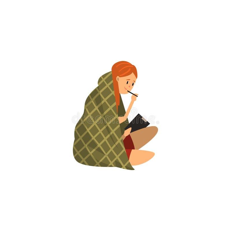 Menina que senta-se no assoalho envolvido em uma cobertura e que tira no papel unido a uma ilustração do vetor da prancheta na ilustração stock