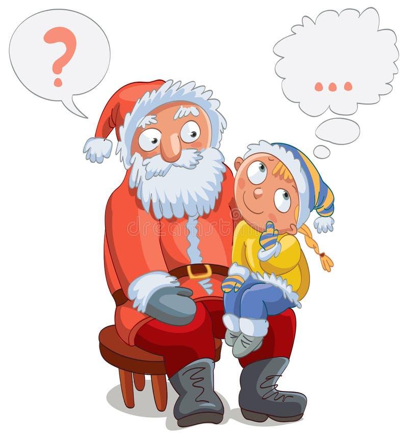 Menina que senta-se no regaço de Santa ilustração stock