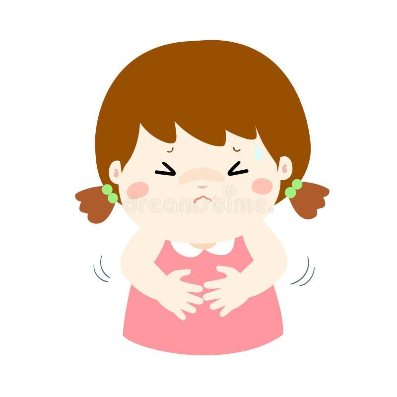 Menina que tem desenhos animados da dor de estômago ilustração stock