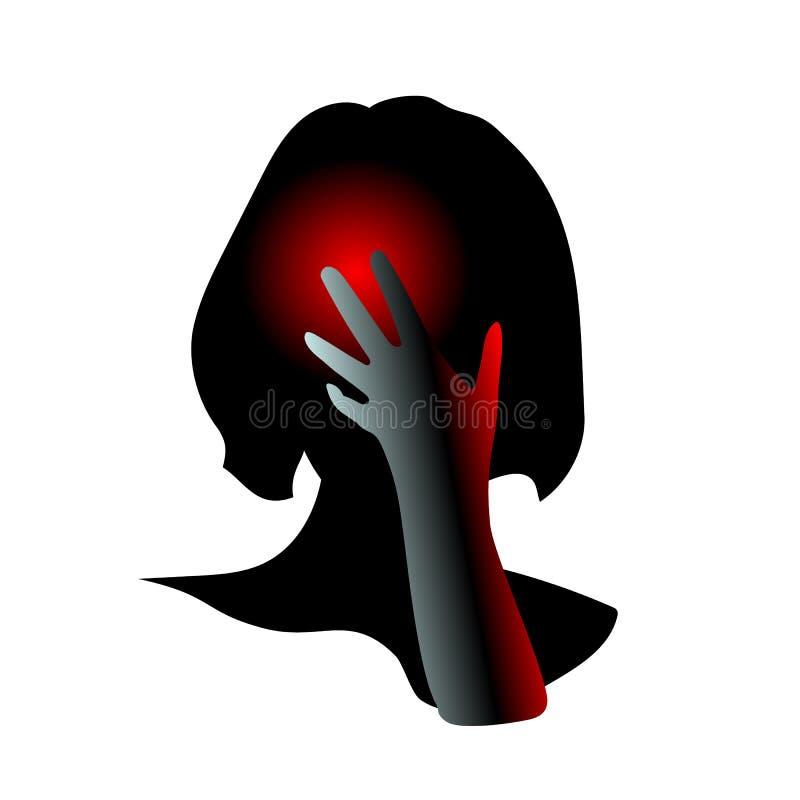 Menina que tem a dor de cabeça, enxaqueca, dor, pressionando a mão para dirigir Os problemas de sa?de do conceito, cansados, sofr ilustração stock