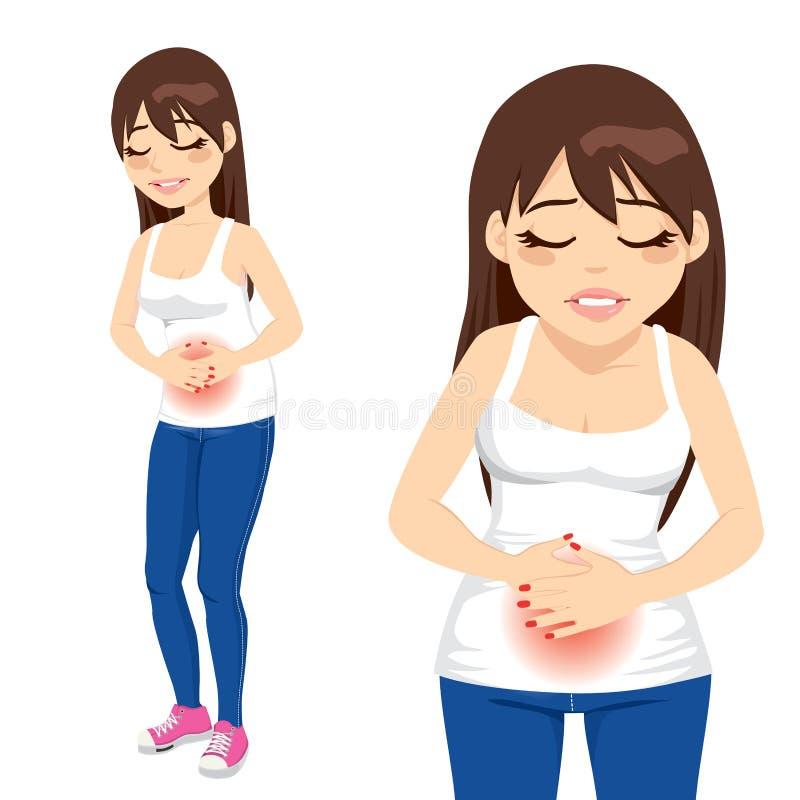Menina que tem a dor de estômago ilustração do vetor
