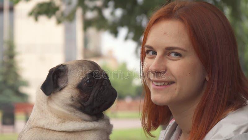 Menina que tenta beijar seu pug e que olha a câmera foto de stock royalty free