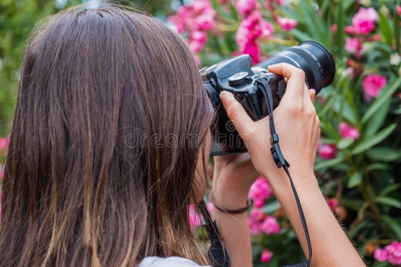 Menina que toma imagens das flores com câmera de DSLR fotos de stock royalty free