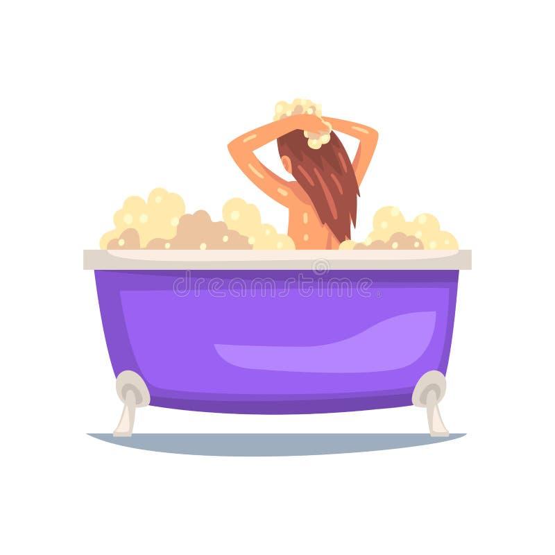 Menina que toma o banho na banheira da bolha e que lava seu cabelo, jovem mulher que toma a cuidado dsi mesma a ilustração do vet ilustração royalty free