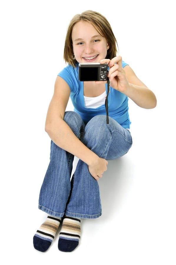 Menina que toma o retrato de auto foto de stock