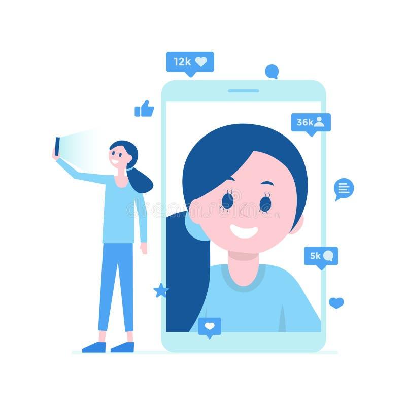 Menina que toma o selfie, chamada video Muitos gostos, comentários Ilustração do vetor ilustração do vetor