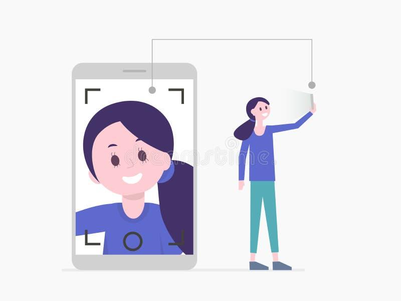 Menina que toma o selfie ou que tem a chamada video Ilustração do vetor ilustração stock