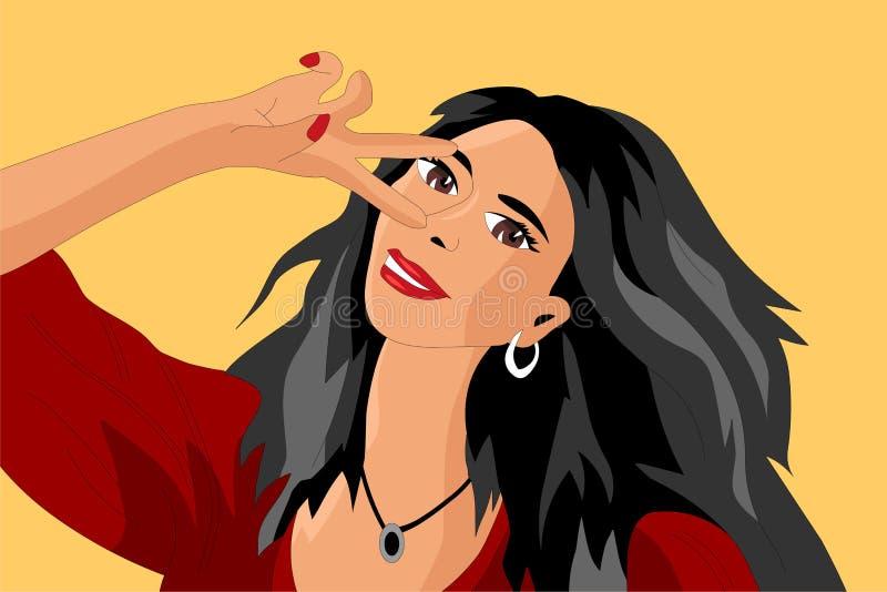 Menina que toma Selfies ilustração stock