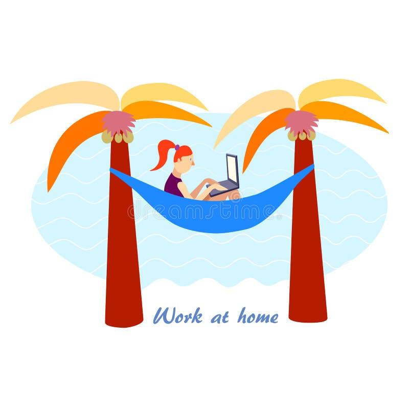 Menina que trabalha da casa, não no escritório Trabalho distante Mulher na praia com seu portátil Vetor 10 eps ilustração royalty free