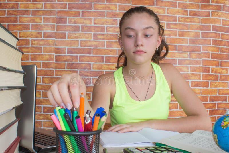Menina que trabalha em seus trabalhos de casa estudante atrativo novo Girl que estuda lições imagem de stock