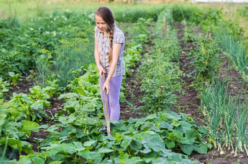 Menina que trabalha em um jardim imagens de stock royalty free