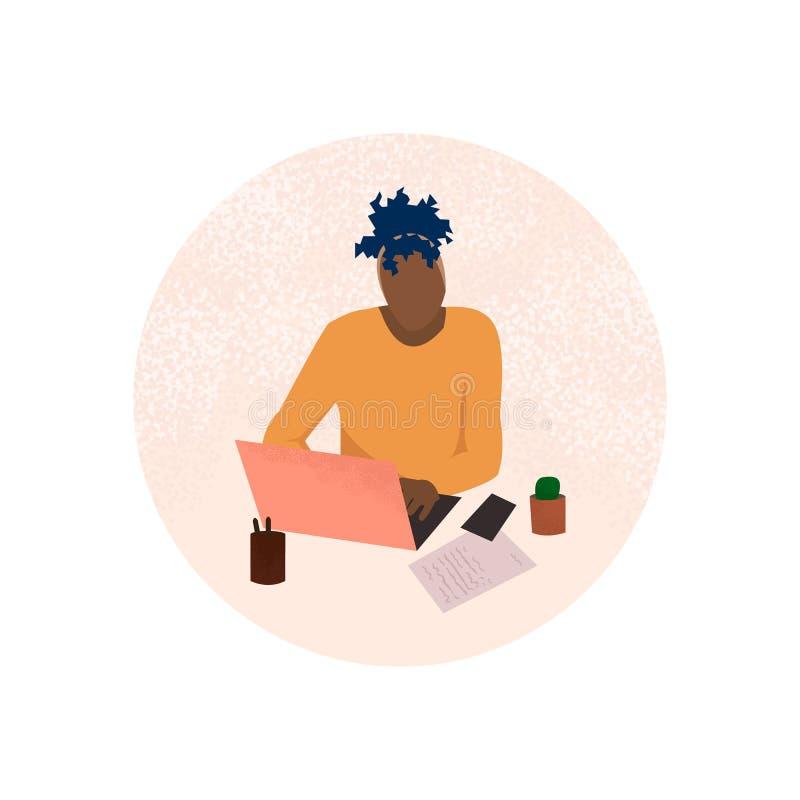 Menina que trabalha no escrit?rio ilustração stock