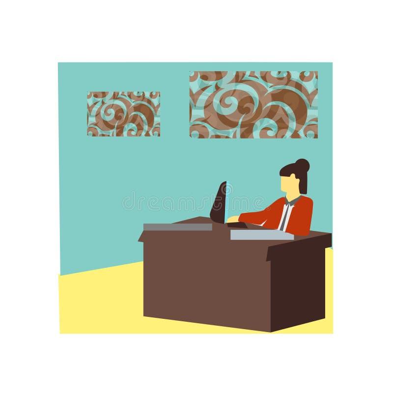 Menina que trabalha no sinal e no símbolo do vetor do vetor do escritório isolados no fundo branco, menina que trabalha no logoti ilustração do vetor