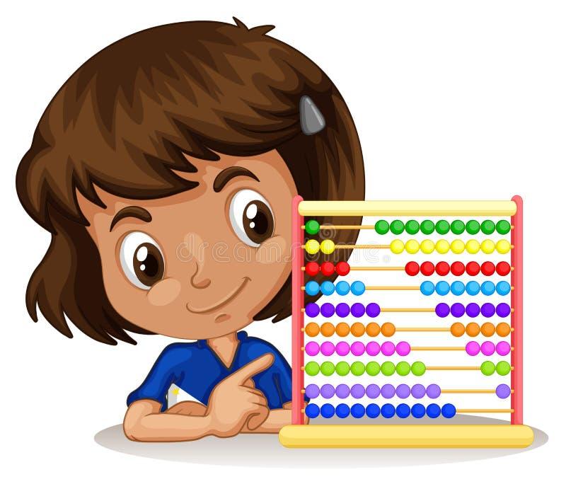 Menina que usa o ábaco para contar ilustração stock