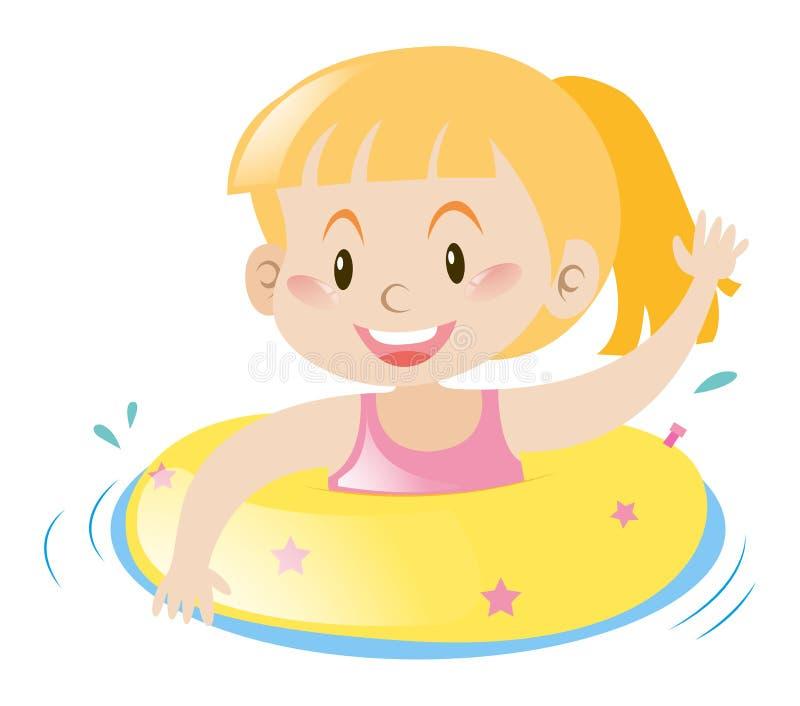 Menina que usa o anel de flutuação amarelo ilustração do vetor
