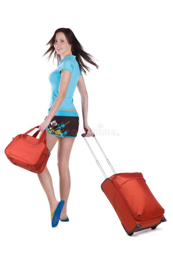 Menina que vai em férias fotografia de stock royalty free