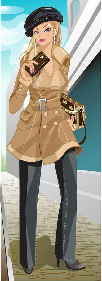 A menina que vai na rua da mola foto de stock