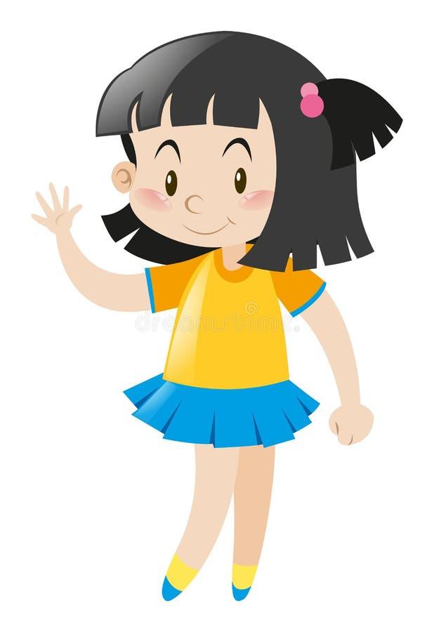 Menina que veste a camisa amarela e a saia azul ilustração do vetor