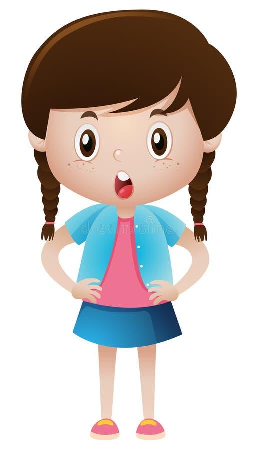 Menina que veste a camisa e a saia azuis ilustração royalty free