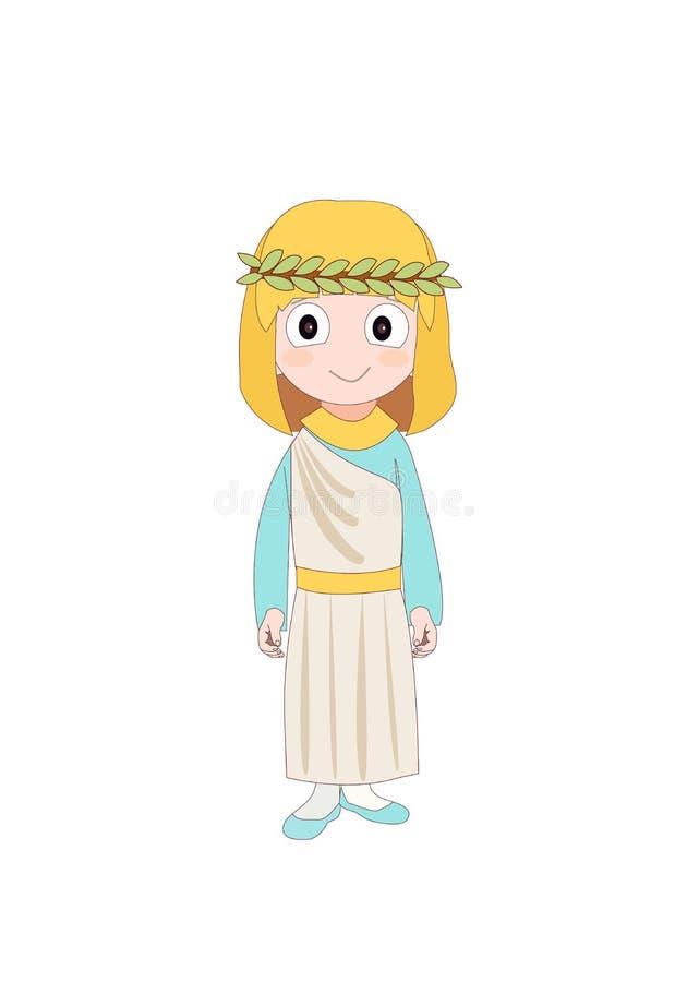 Menina que veste o traje antigo de Roma para a história de escola Ilustração do vetor ilustração do vetor