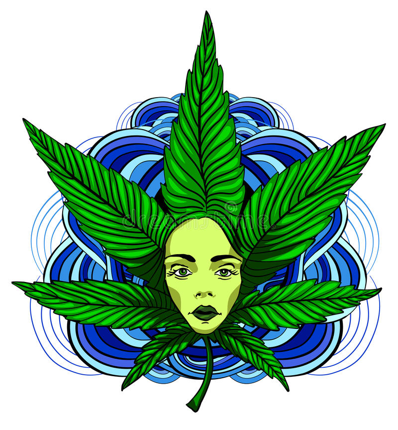 Menina quente com folhas da marijuana ilustração do vetor