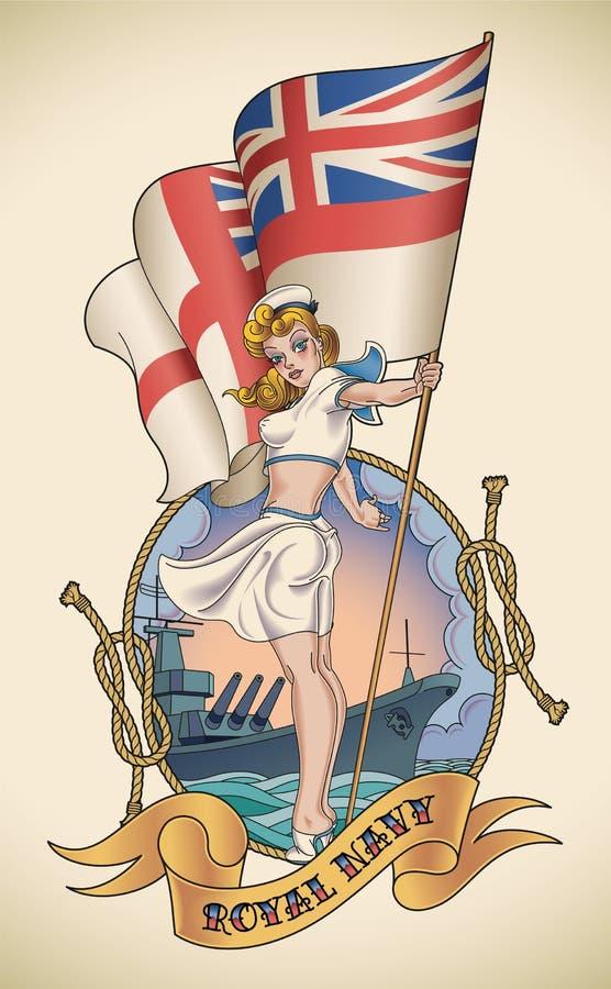 Menina real da marinha ilustração do vetor