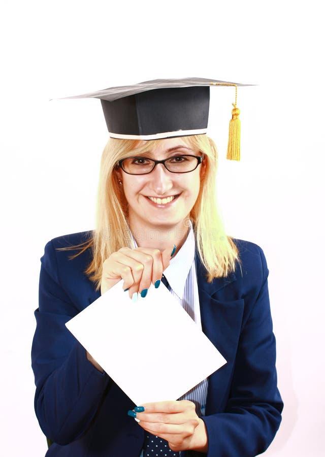 Menina recentemente graduada feliz fotos de stock royalty free