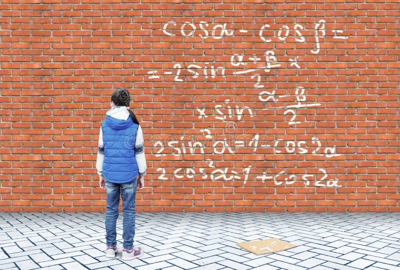 A menina reflete nas fórmulas matemáticas escritas em uma parede de tijolo imagens de stock royalty free