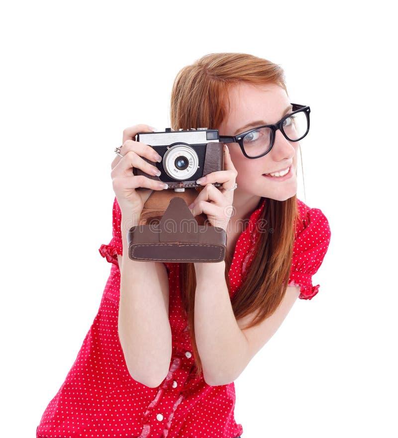 Menina retro com câmera foto de stock royalty free