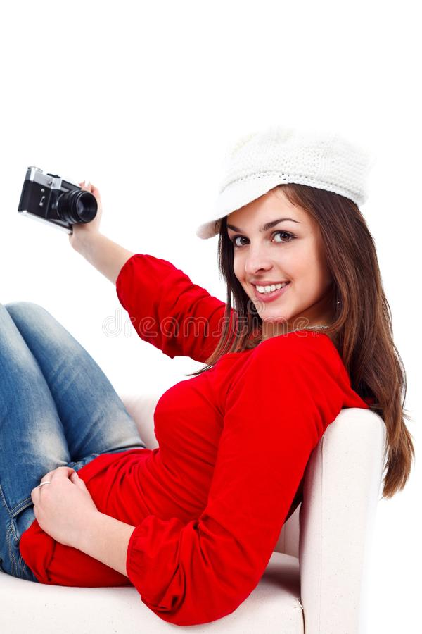 Menina retro com câmera da foto fotografia de stock royalty free