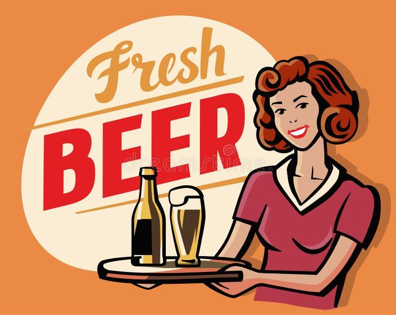 Menina retro da cerveja ilustração royalty free
