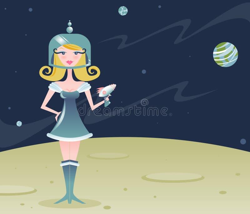 Menina retro do espaço ilustração stock