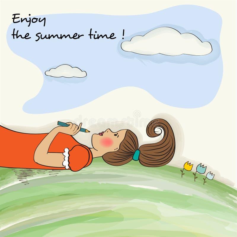 A menina romântica aprecia as horas de verão Bandeira da aguarela ilustração do vetor