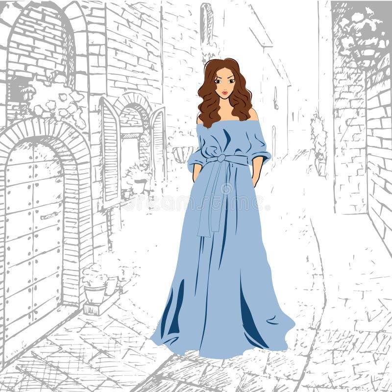 Menina romântica elegante no vestido maxi azul que anda abaixo da rua ilustração royalty free