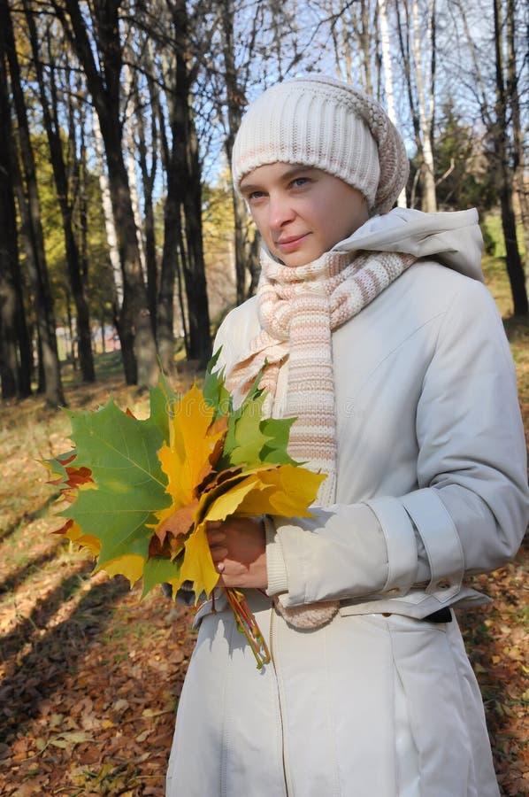 Menina romântica em uma madeira do outono imagens de stock